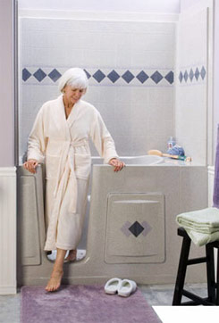 image of woman coming out of a New Jersey walk-in shower