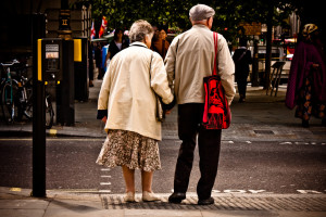 senior citizens about to cross the street