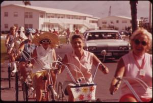 senior citizens riding their bicycles