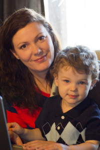 Mother and Son using a laptop