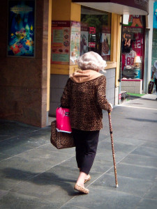 Leopard old lady in cane